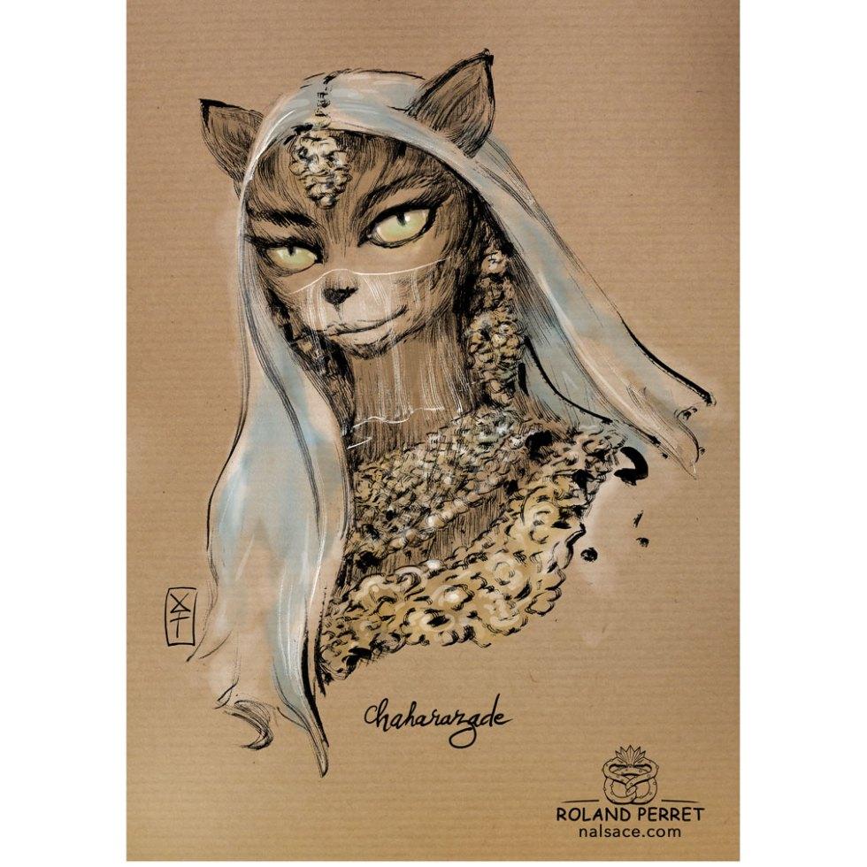 Chaharazade - Shéhérazade - Dessin original à l'encre sur papier kraft par Roland Perret - Jeu du chat-llenge