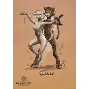 Dessin de chats dansant le cha-cha-cha par Roland Perret, jeu du Chat-llenge. www.nalsace.com