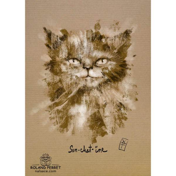 Dessin de chat solaire, Sun-chat-ïne, par Roland Perret, jeu du Chat-llenge. www.nalsace.com