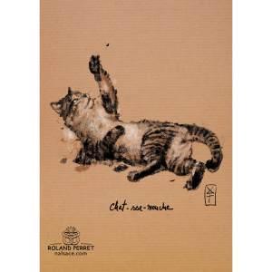 Dessin de Chat-sse-mouche, un chat chassant une mouche par Roland Perret, jeu du Chat-llenge. www.nalsace.com