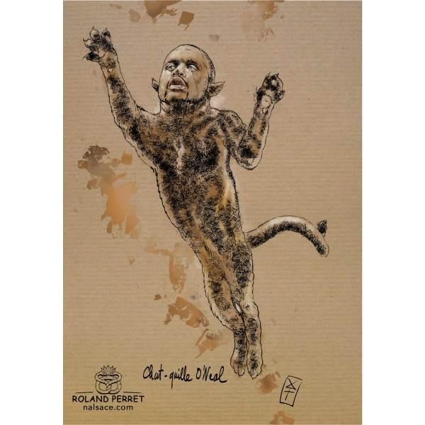 Dessin de Shaquille O'Neale en chat bondissant par Roland Perret, jeu du Chat-llenge.