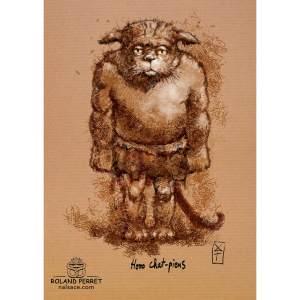 Dessin de chat en Homo Sapiens par Roland Perret, jeu du Chat-llenge. www.nalsace.com