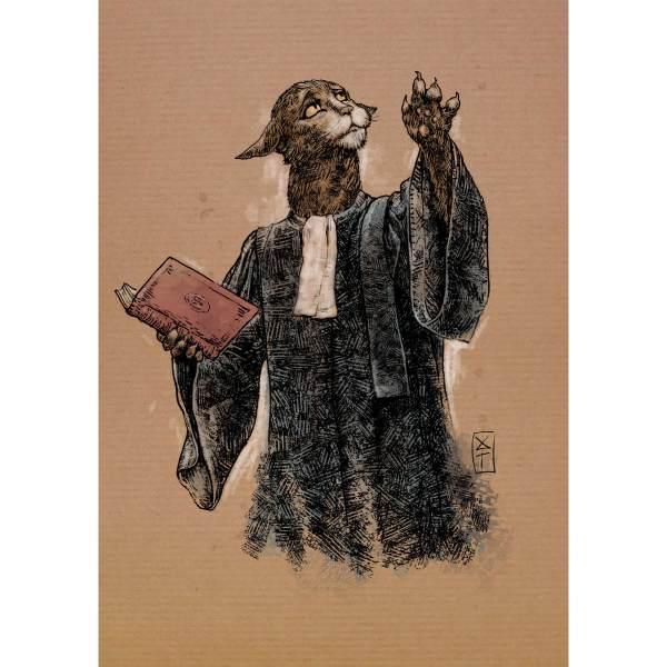 Avo-cat - Dessin de chat en avocat par Roland Perret, jeu du Chat-llenge. www.nalsace.com