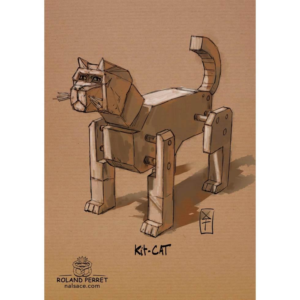 Kit-cat - Dessin de chat kit façon Ikéa par Roland Perret, jeu du Chat-llenge. www.nalsace.com