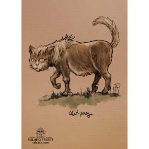 Dessin de chat en poney (japonais) par Roland Perret, jeu du Chat-llenge. www.nalsace.com