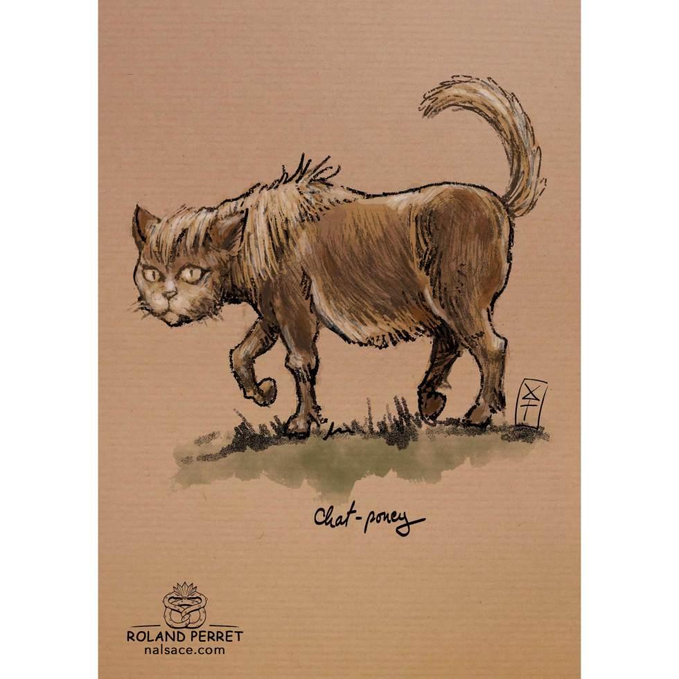 Dessin de chat en catcheur par Roland Perret, jeu du Chat-llenge. www.nalsace.com
