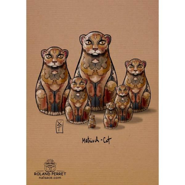 Dessin de chat à la matriochka par Roland Perret, jeu du Chat-llenge. www.nalsace.com