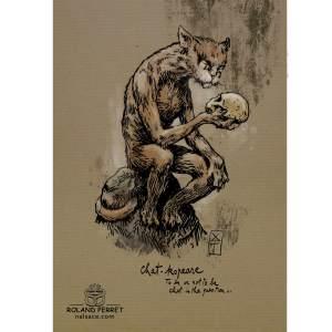 Dessin de chat en Shakespeare par Roland Perret, jeu du Chat-llenge. www.nalsace.com