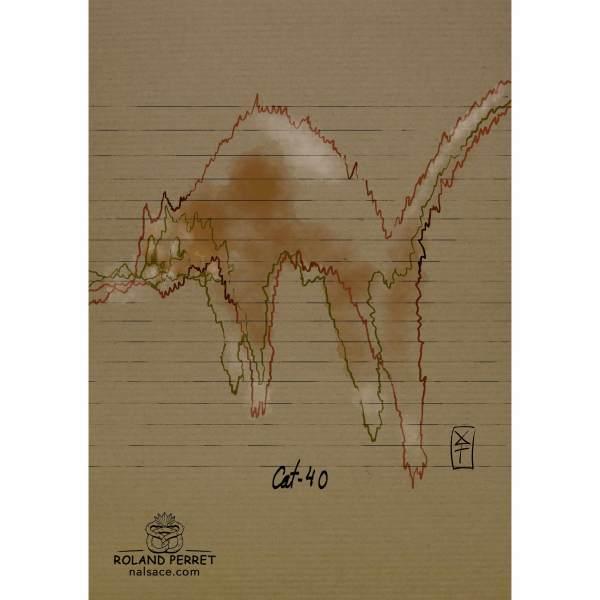 Dessin de chat en Cat-40 par Roland Perret, jeu du Chat-llenge. www.nalsace.com