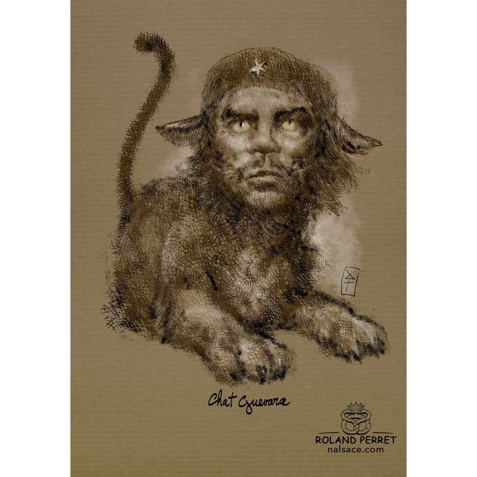 Dessin de Che Guevara en chat révolutionnaire par Roland Perret, jeu du Chat-llenge. www.nalsace.com