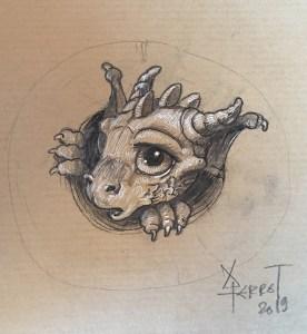 Petit dragon cornu