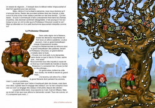 L'arbre à palabres nalsacien est un bretzelbaam brochure Niedermannele Nalsace illustration roland perret