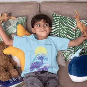Kinder Shirt Jungen Wave of Life Nalusurf blau Welle