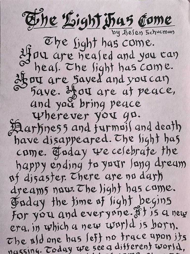 the light has come poem