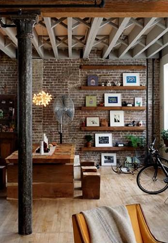 Rough Brick Decor Modern Dining Area Loft Interior6