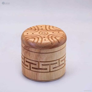 NA-hand-carved-cylindrical-shape-wooden-box