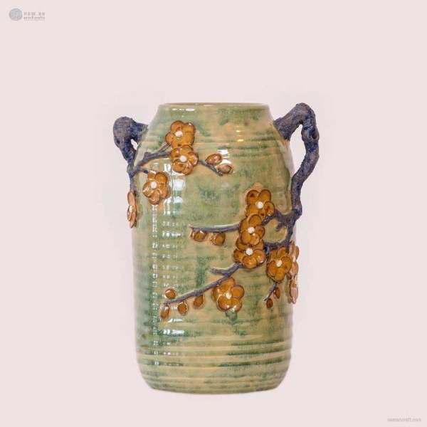 NA-cylindrical-embossed-vase-with-double-handles-apricot-blossom-pattern