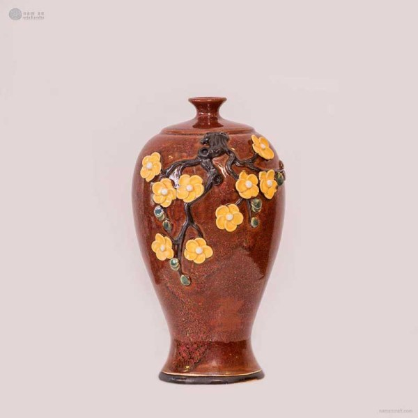 NA-embossed-vase-with-small-mouth-apricot-blossom-pattern