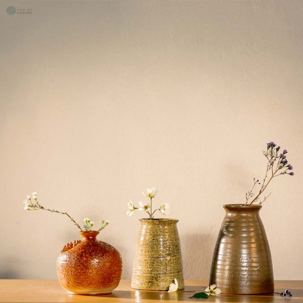 NA-earth-yellow-cylindrical-ceramic-vase-with-spotted-pattern-made-by-artist-Pham-Anh-Dao