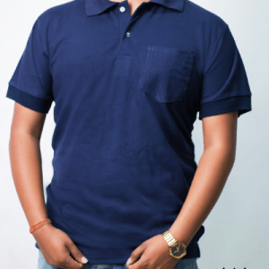 Men's Navy Blue Short Sleeve Polo With Chest Pocket