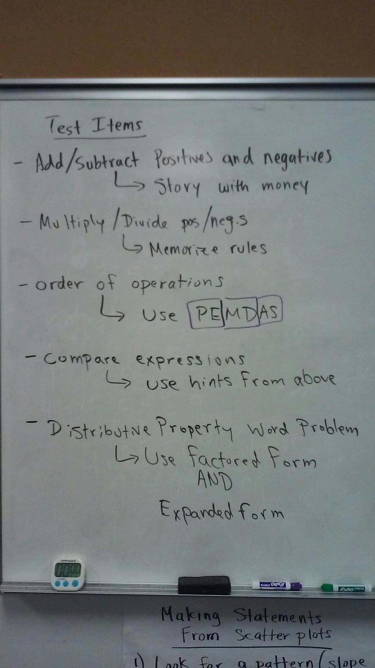 7th Grade Math Test Notes