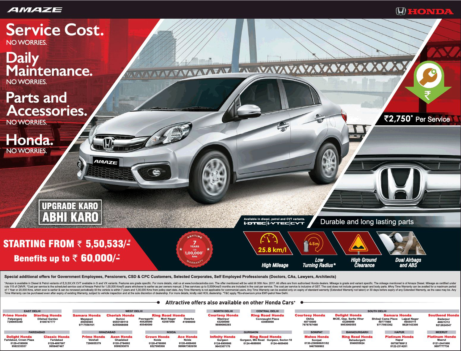 Honda Amaze Now Starting From Rs 5 50 Lakh Benefits Up To Rs