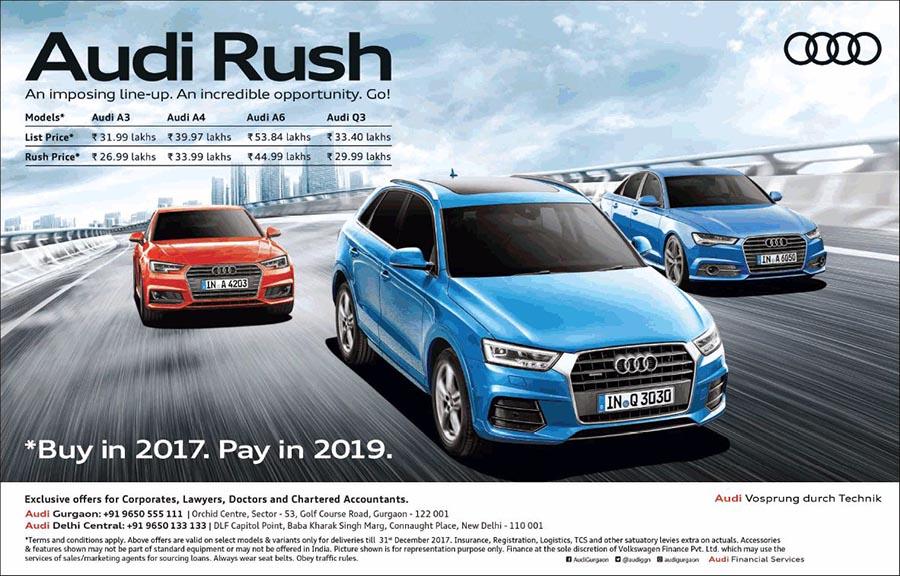 Audi Rush Discounted Price On Audi A A A And Q Namaste Car - Audi a3 audi a4