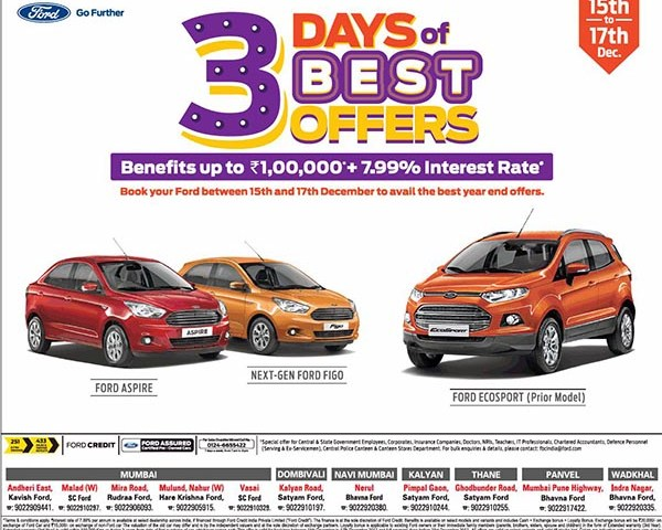 Get benefits up to Rs. 1 lakh plus 7.99% interest rate on Ford cars