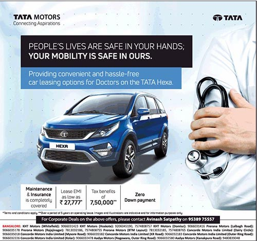 Lease Emi On Tata Hexa At Rs 27 777 For Doctors Namaste Car