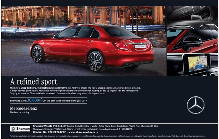 mercedes benz c class edition c emi starts at rs 38 888 with best trade in offers namaste car. Black Bedroom Furniture Sets. Home Design Ideas
