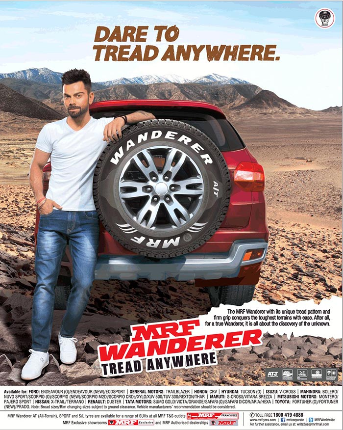 Ford Dealerships In Nc >> Virat Kohli endorses MRF Wanderer tyre - Namaste Car