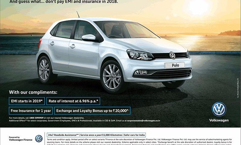 Volkswagen offering exciting emi scheme for polo and vento | cartrade.