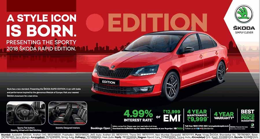 Get 2018 Skoda Rapid Edition With 4 99 Interest Rate Or