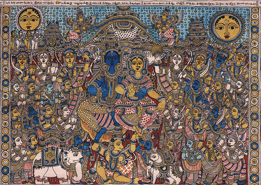 The deities Rama and Sita are the centrepiece-of a Kalamkari which is based on the Ramayana