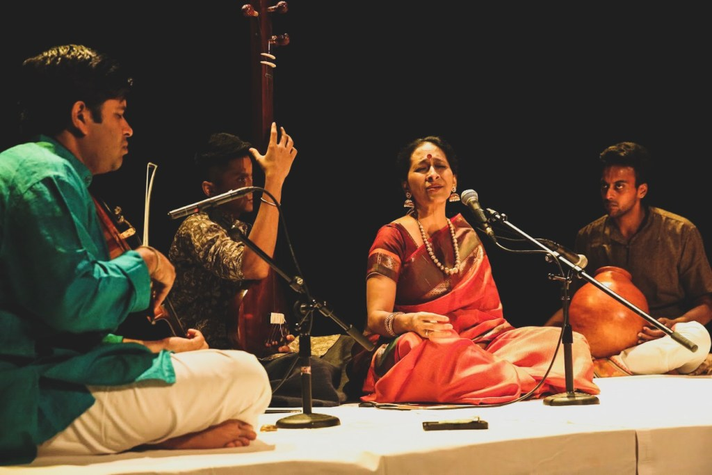 Bombay Jayashri with her accompanists at Geneva
