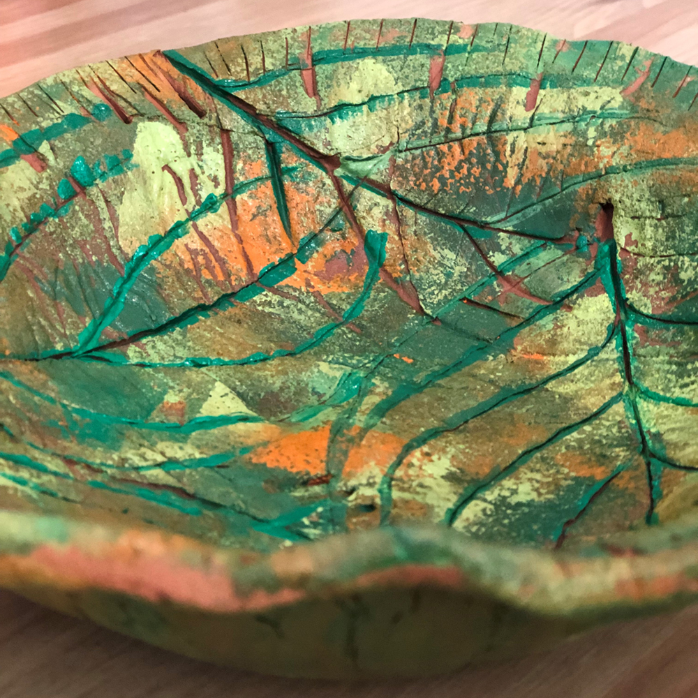 Leaf Print Clay Bowl - Step 6