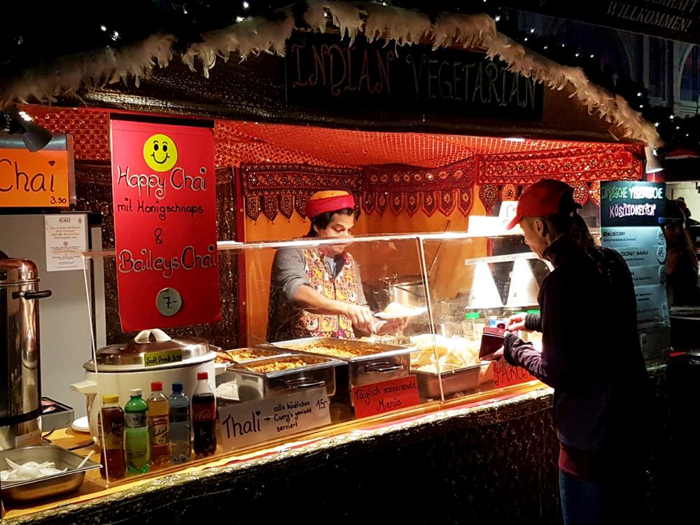 Indian Vegetarian Stall in Zurich Christmas Market