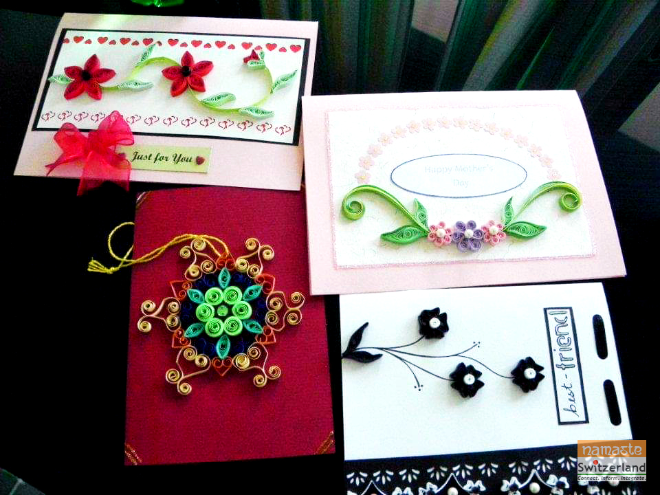 Photo of a collection of greeting cards made by quilling