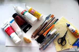 Photo of materials required for mixed media art