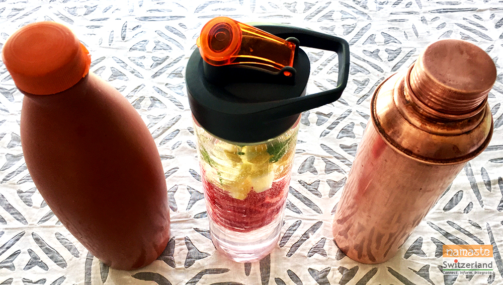 Clay, infuser and copper water bottles