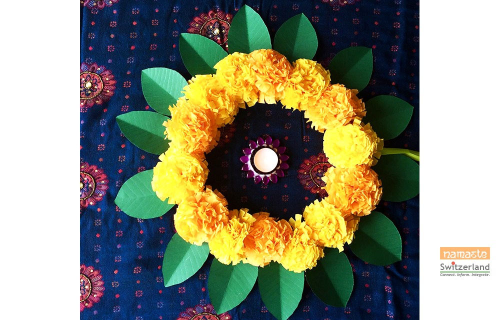 Make your own festive marigold wreath