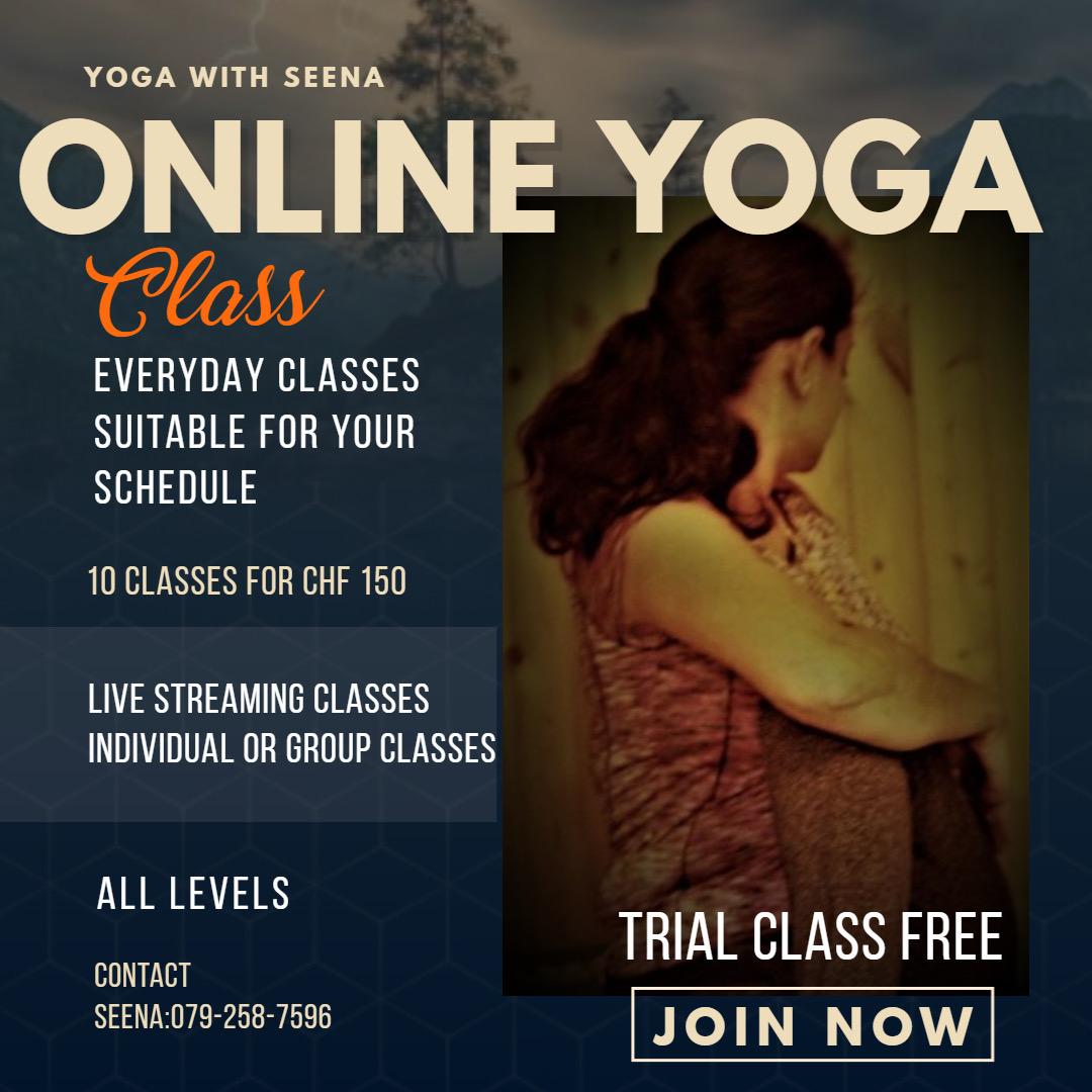 Flyer of Yoga classes by Seena Prashanth