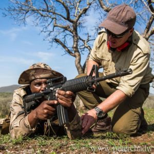 Anti-poaching unit undergoing shooting training, Somkhanda Private Game Reserve, KwaZulu Natal, South Africa