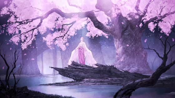 Konachan.com - 190303 cherry_blossoms forest long_hair original petals scenic topipan tree water wings
