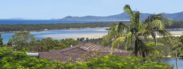Nambucca Beach House holiday accommodation — water view from the roofline of the vacation home..