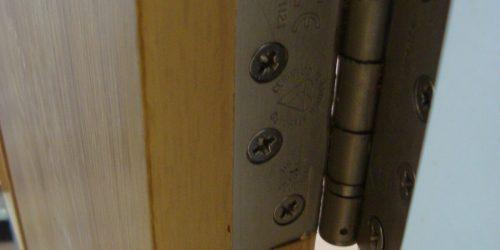 Hinge cut incorrectly to veneer door repair