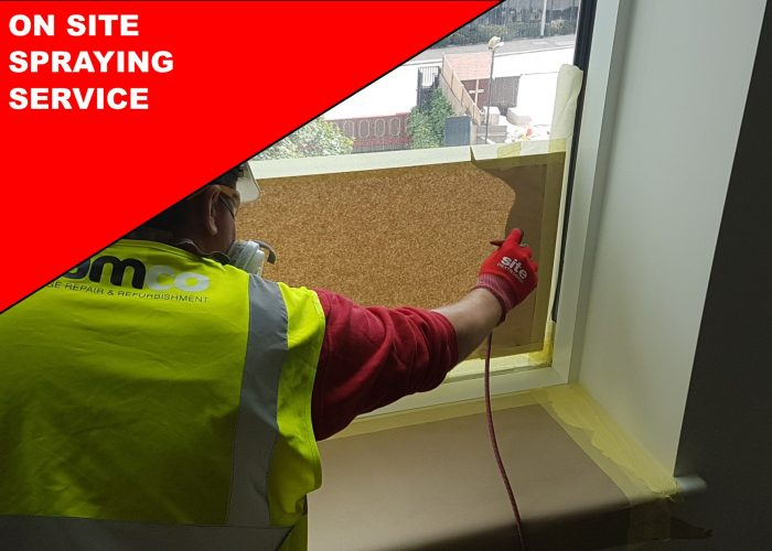 ON SITE WINDOW FRAME CLADDING SPRAYING SERVICE