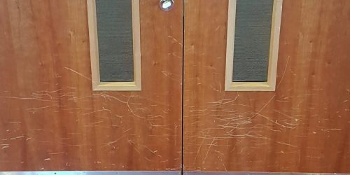 SCRATCHED DAMAGED CHIP DENT EXECUTIVE LOUNGE DOOR REFURB REPAIRS FRENCH POLISHING