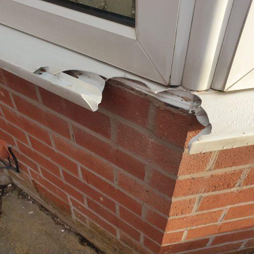 BADLY DAMAGED UPVC PLASTIC WINDOW SILL REPAIR BEFORE