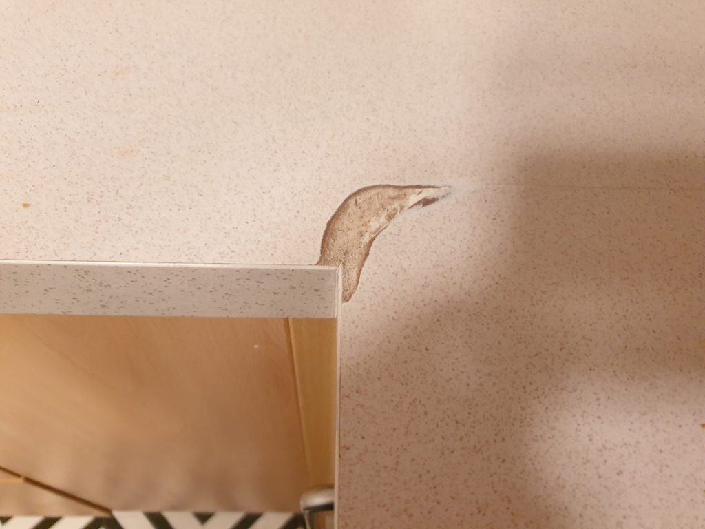 WATER DAMAGED WORKTOP JOINT REPAIR MANCHESTER BEFORE